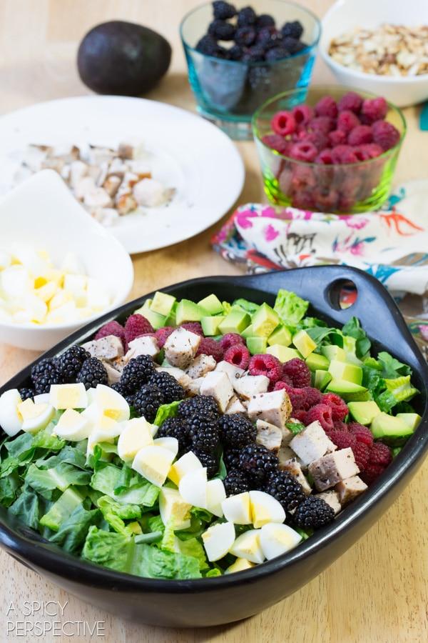 Making Summer Cobb Salad Recipe! #salad #cobbsalad #summer #berries
