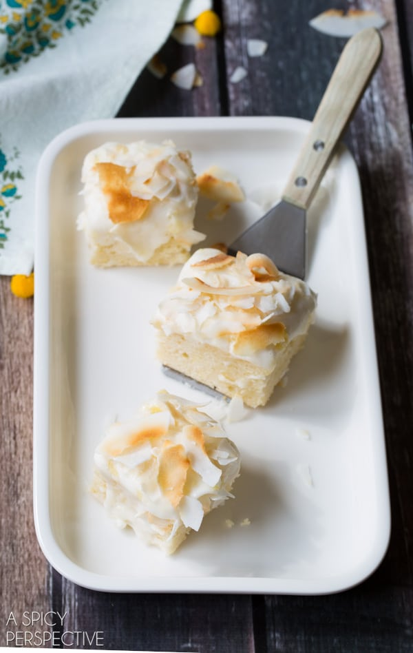 Simple Pina Colada Cake Squares #summer #pinacolada #coconut #pineapple #cake