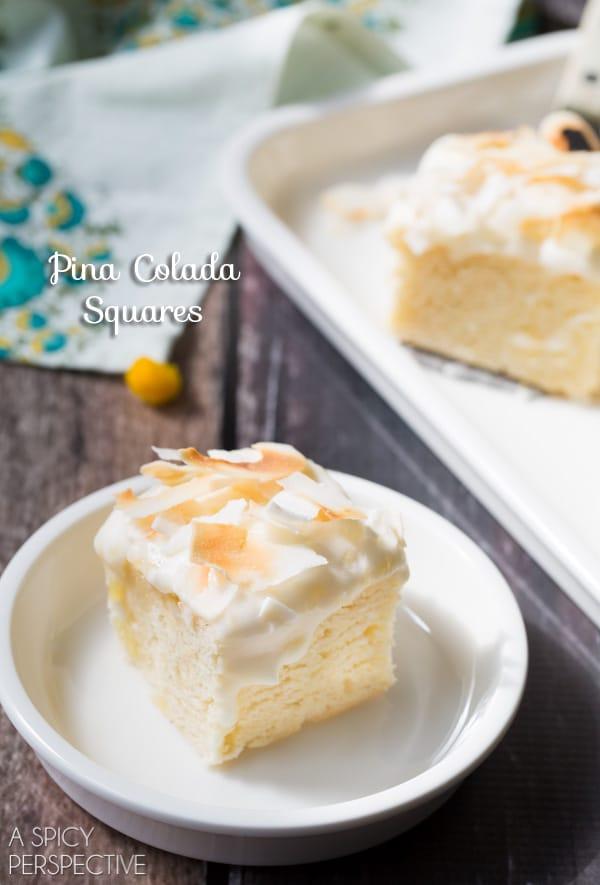 Creamy Dreamy Pina Colada Cake Squares #summer #pinacolada #coconut #pineapple #cake