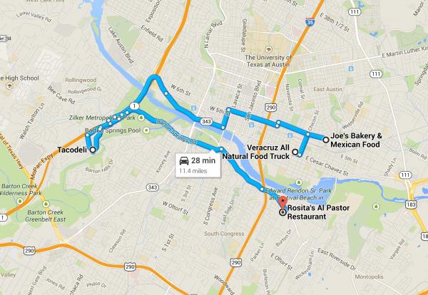 Austin Taco Tour Map