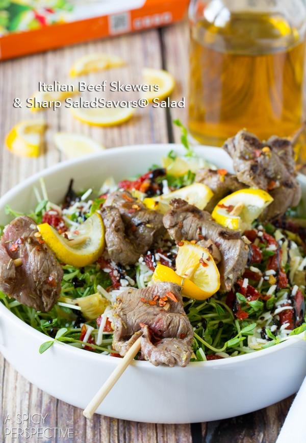 Easy Italian Beef Skewers & Sharp SaladSavors® + Al Fresco SaladSavors® #Giveaway with @DeLalloFoods ($3000) #SaladSavorsGiveaway #SavorSummer