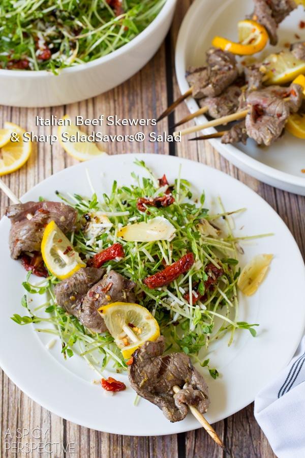 Italian Beef Skewers & Sharp SaladSavors® + Al Fresco SaladSavors® #Giveaway with @DeLalloFoods ($3000) #SaladSavorsGiveaway #SavorSummer