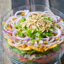 9 Layer Asian Salad + Asian Salad Dressing #salad #summer #potluck