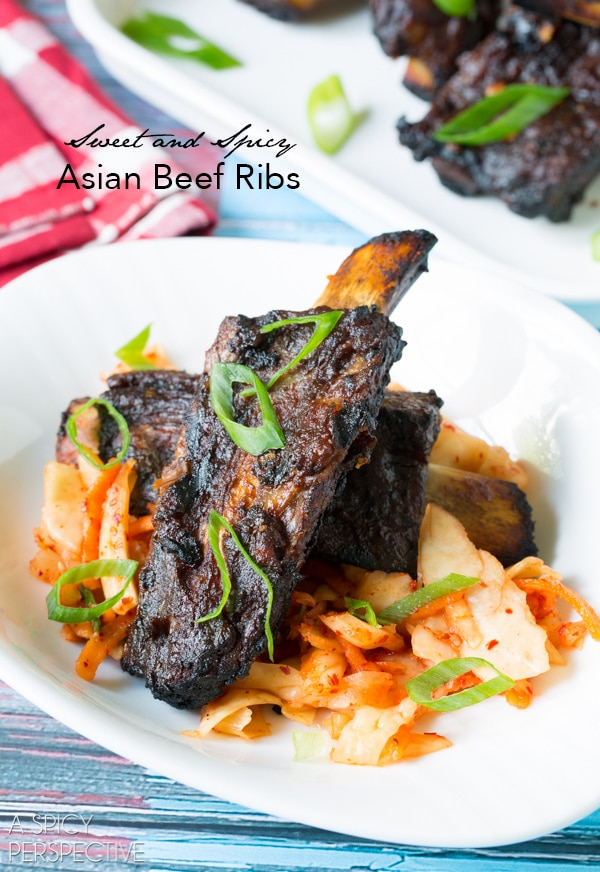 Asian Beef Ribs Recipe on ASpicyPerspective.com #ribs #grilling #summer #AppleButterSpin