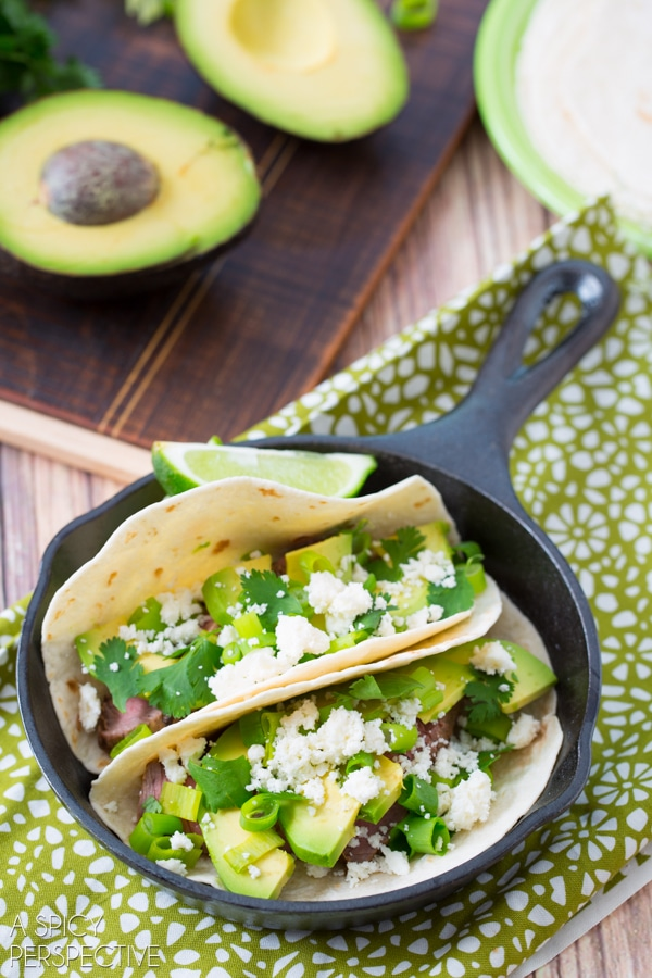 Dinner Tonight: Green Chile Steak Tacos #tacos #steak #mexican