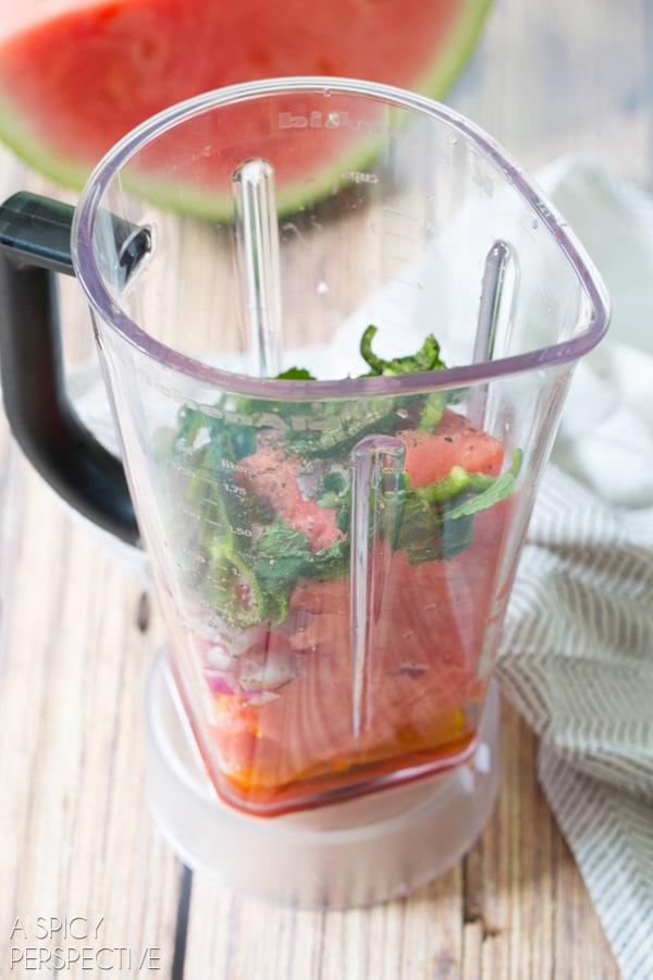 Simple Watermelon Gazpacho Recipe #gazpacho #soup #watermelon