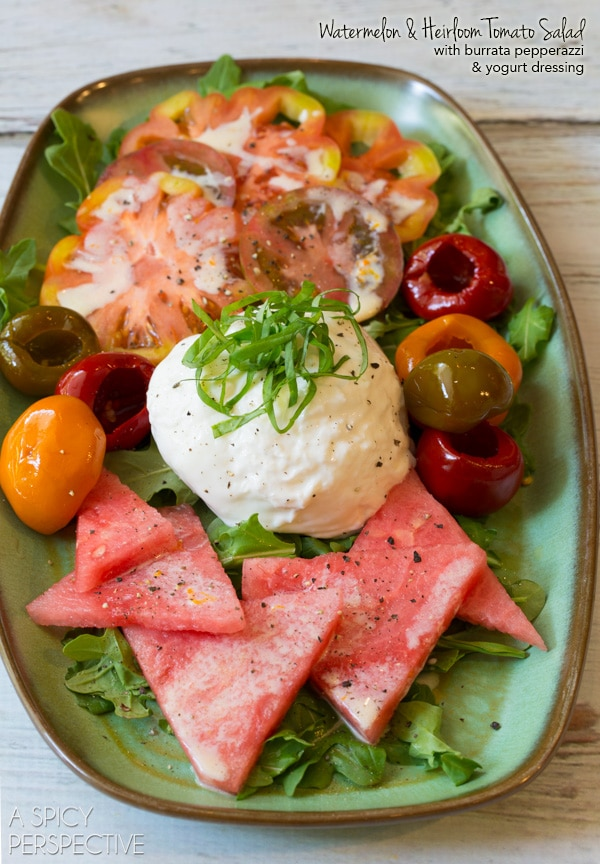 Easy Watermelon Salad with Heirloom Tomatoes, Burrata, and Sparkling Yogurt Dressing! #Summer #Salad #realcalifmilk