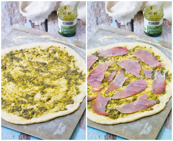Making Grilled Pesto Pizza with burrata, prosciutto, and micorgreens #pizza #grilled #italian