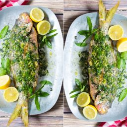 Snapper Recipe - Whole Roasted Snapper with Anchovy Butter and Herbs #bakedfish #snapperrecipe
