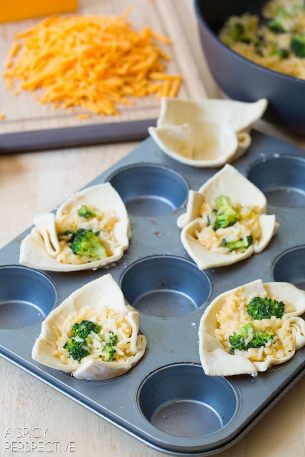 Easy to Make Broccoli Cheese Rice Casserole MINI PIES! #sidedish #lunchbox #kids #backtoschool