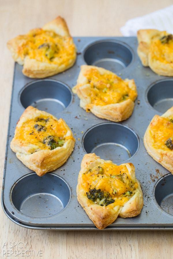 Simple to Make Broccoli Cheese Rice Casserole MINI PIES! #sidedish #lunchbox #kids #backtoschool