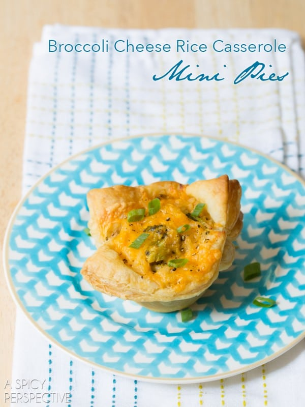 Broccoli Cheese Rice Casserole MINI PIES! #sidedish #lunchbox #kids