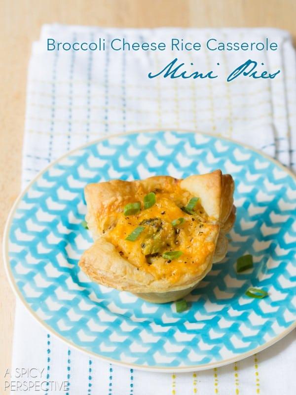 Broccoli Cheese Rice Casserole MINI PIES! #sidedish #lunchbox #kids