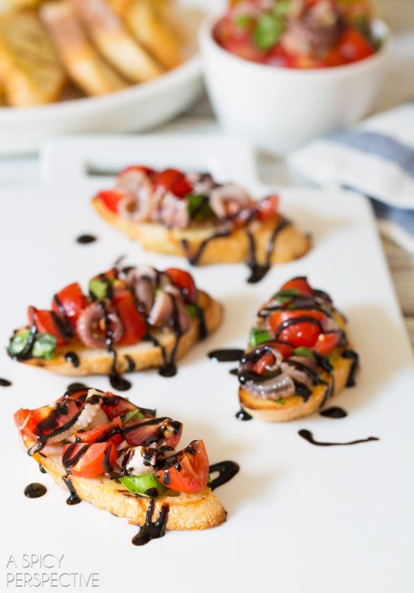 Italian Grilled Octopus Bruschetta #italian #bruschetta