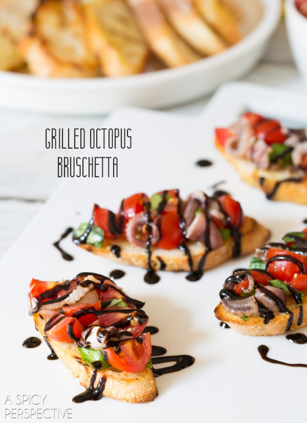 Grilled Octopus Bruschetta #italian #bruschetta