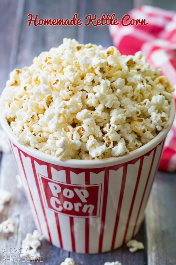 Kettle Corn Recipe on ASpicyPerspective.com #kettlecorn #popcorn