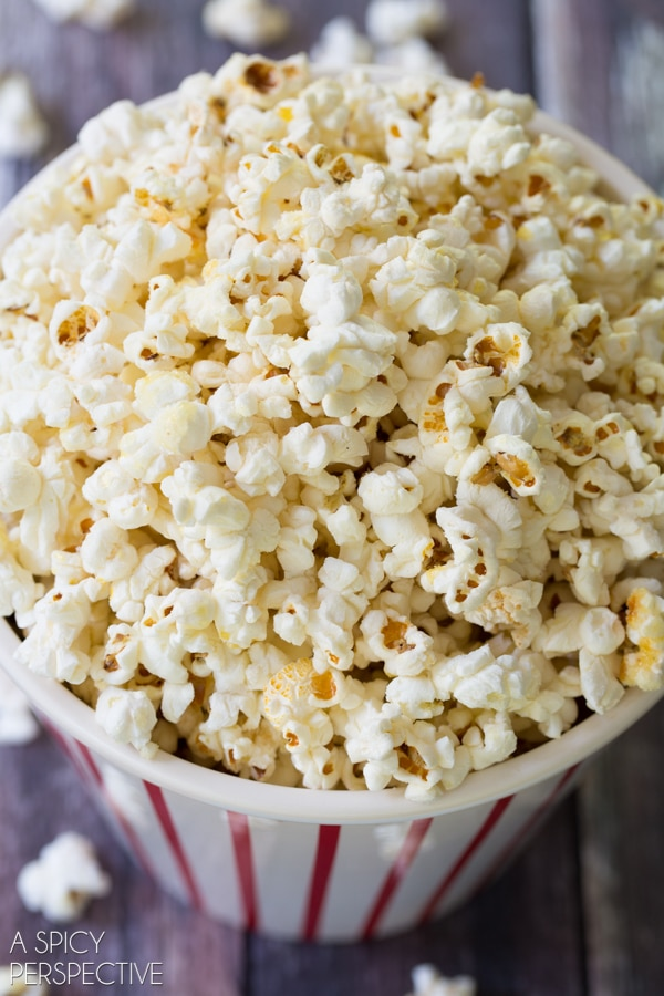 Homemade Kettle Corn Recipe on ASpicyPerspective.com #kettlecorn # ...
