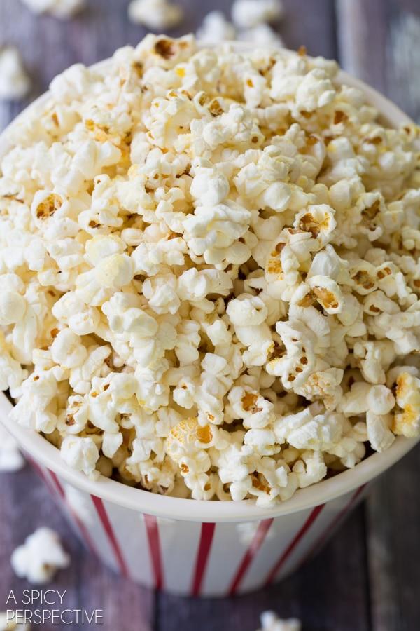 ... Kettle Corn Recipe on ASpicyPerspective.com #kettlecorn #popcorn