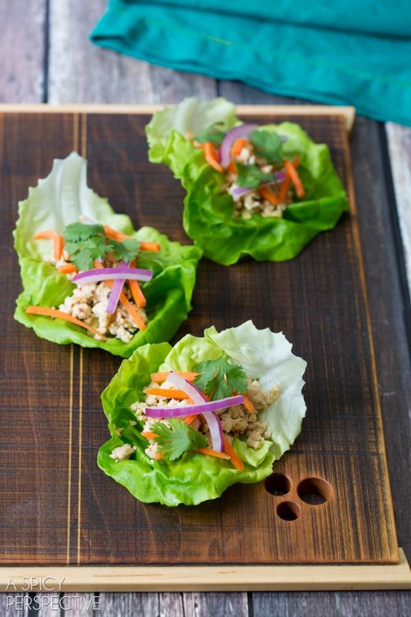 Easy Nam Sod Lettuce Wraps #healthy #thai
