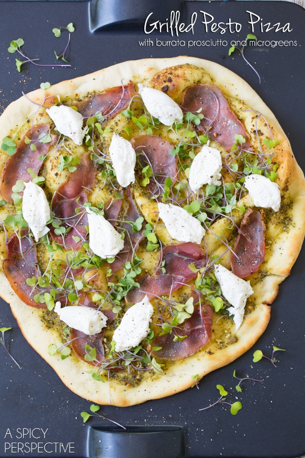 Grilled Pesto Pizza with burrata, prosciutto, and micorgreens #pizza #grilled #italian