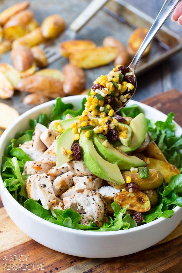 Simple Southwest Chicken Caesar Salad #chicken #salad