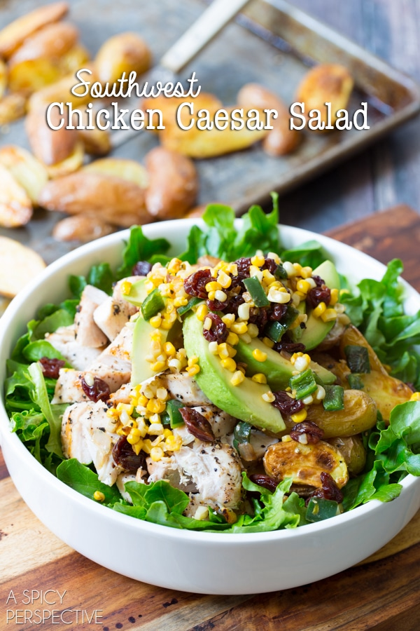 Southwest Chicken Caesar Salad #chicken #salad