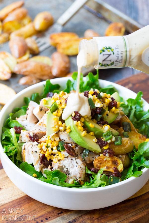 Southwest Chicken Caesar Dinner Salad #chicken #salad