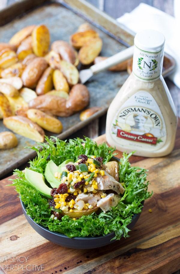 Easy Southwest Chicken Caesar Salad #chicken #salad