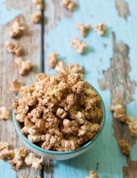 Chocolate Malt Popcorn Recipe on ASpicyPerspective.com #popcorn #chocolate