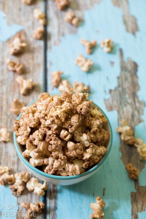 Chocolate Malt Popcorn Recipe on ASpicyPerspective.com #popcorn #chocolate