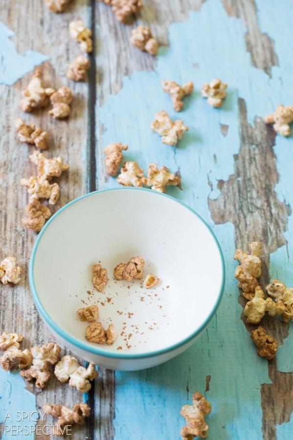 Simple Chocolate Malt Popcorn Recipe on ASpicyPerspective.com #popcorn #chocolate