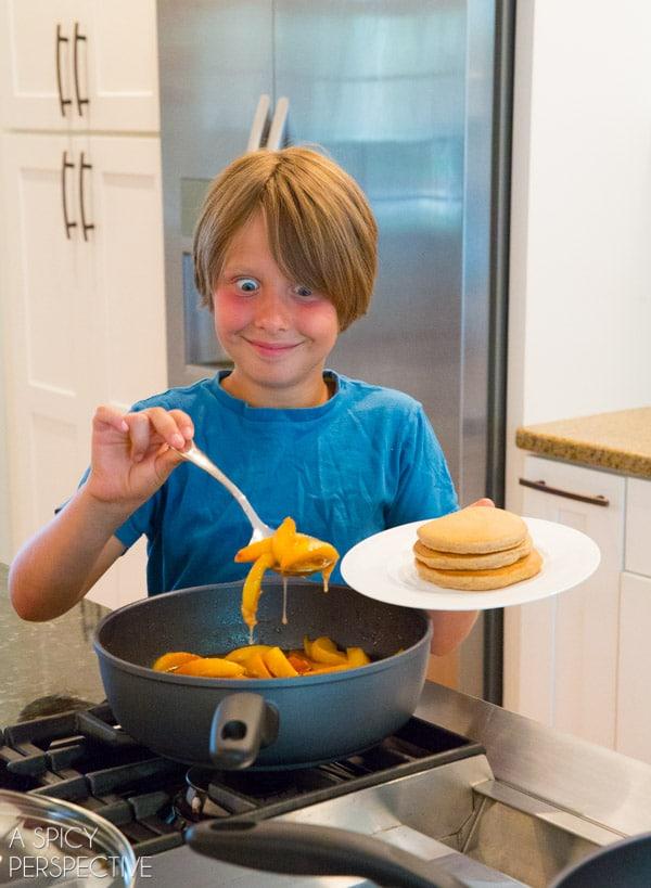 Easy Cinnamon Pancakes + Peach Syrup Recipe #backtoschool #pancakes #peach