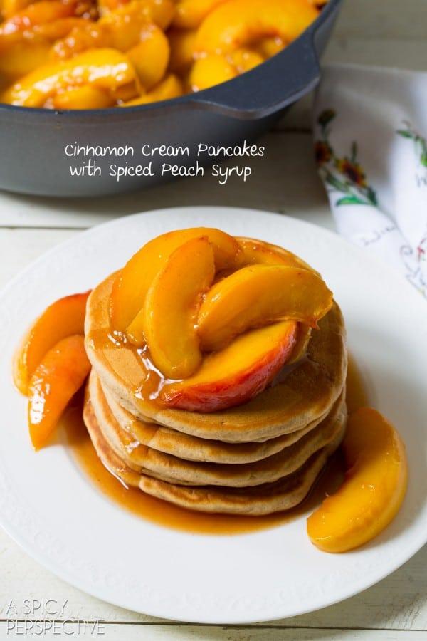 Cinnamon Pancakes + Peach Syrup Recipe #backtoschool #pancakes #peach