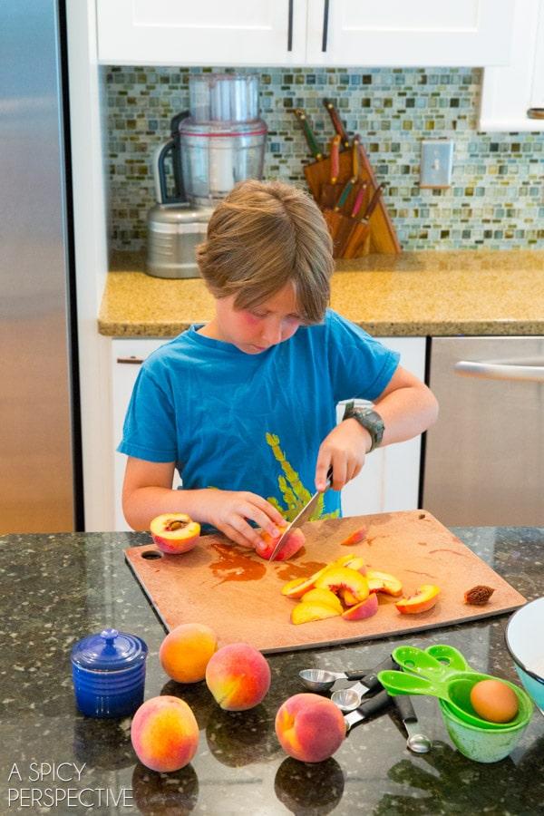 Kid-Made Cinnamon Pancakes + Peach Syrup Recipe #backtoschool #pancakes #peach