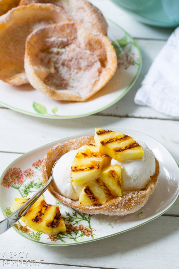 Sugar Fried Ice Cream Bowls with Coconut Ice Cream and Grilled Pineapple #fried #icecream
