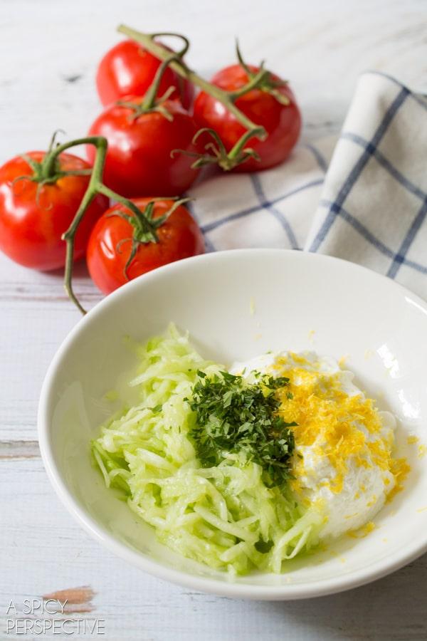 Greek Hamburger Recipe with Yogurt Sauce on ASpicyPerspective.com #burgers #summer #greek