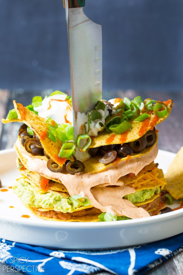 Party! Seven Layer Dip Tostada Stack #7LayerDip #Mexican #party
