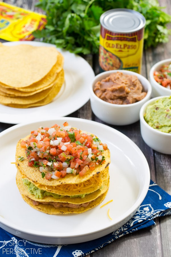 Easy 7 Layer Dip Tostada Stack #7LayerDip #Mexican #party