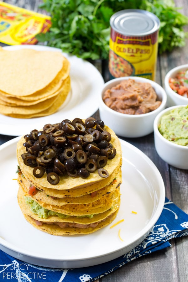 Simple Seven Layer Dip Tostada Stack #7LayerDip #Mexican #party