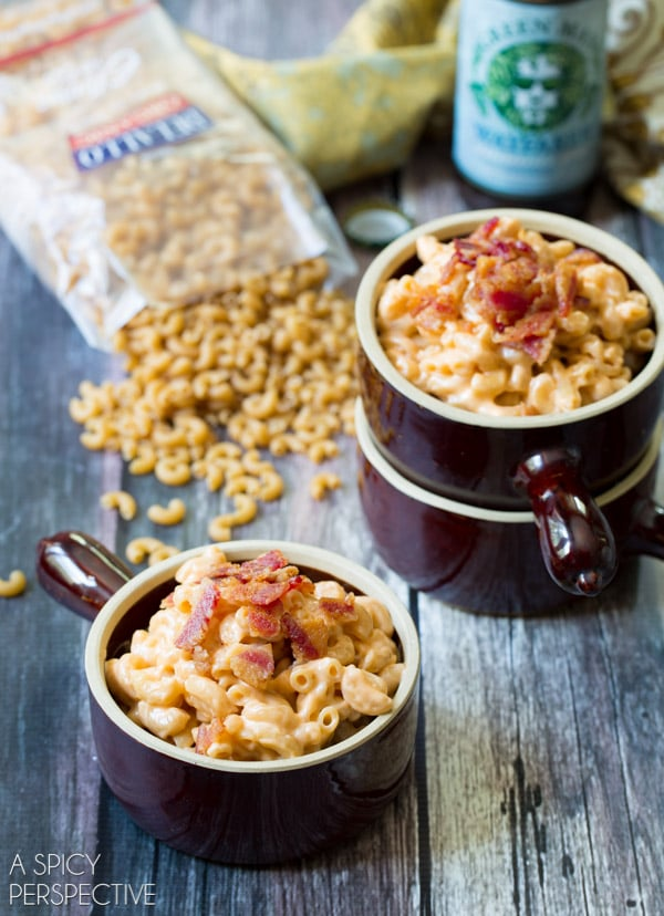 EASY BEER MAC AND CHEESE RECIPE on ASpicyPerspective.com #macandcheese #beer