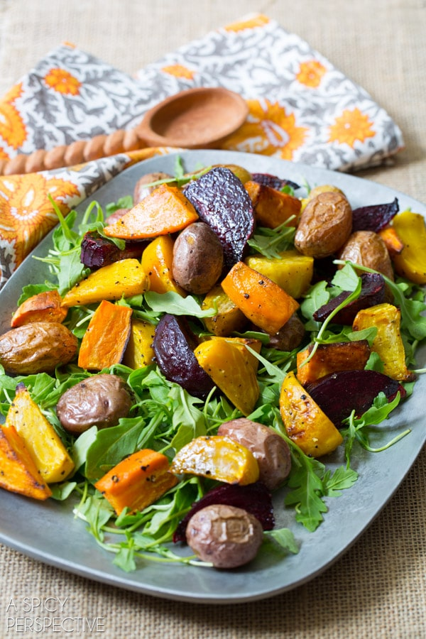 Vibrant Roasted Root Vegetables Salad - With Cilantro Dressing and Savory Spiced Granola! #healthy #vegetarian