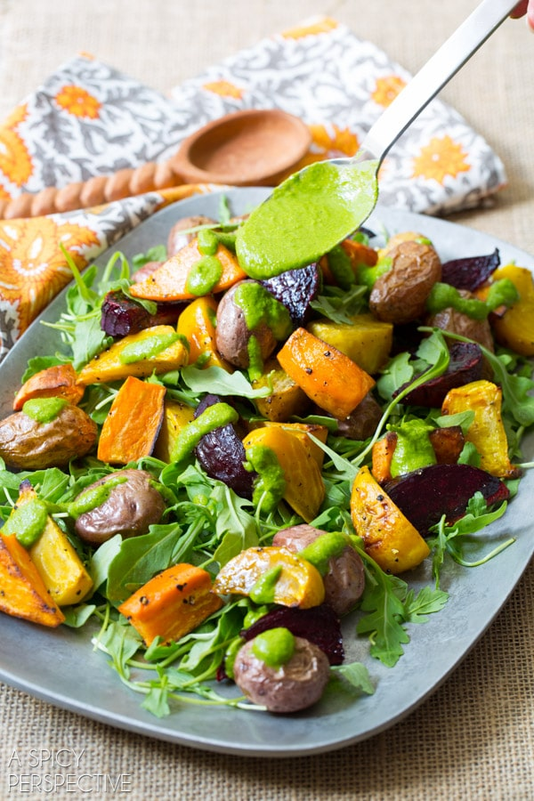 Perfect for Fall - Roasted Root Vegetables Salad - With Cilantro Dressing and Savory Spiced Granola! #healthy #vegetarian