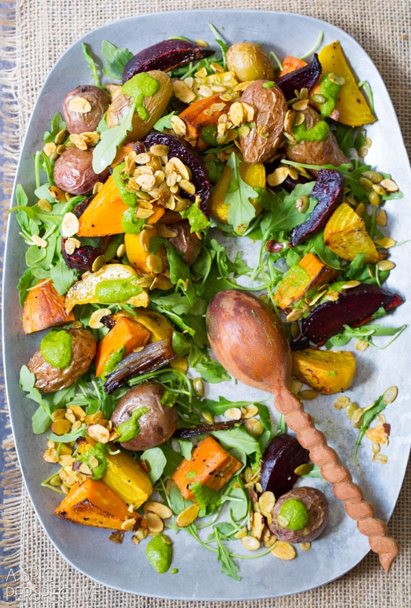 Fall Roasted Root Vegetables Salad - With Cilantro Dressing and Savory Spiced Granola! #healthy #vegetarian