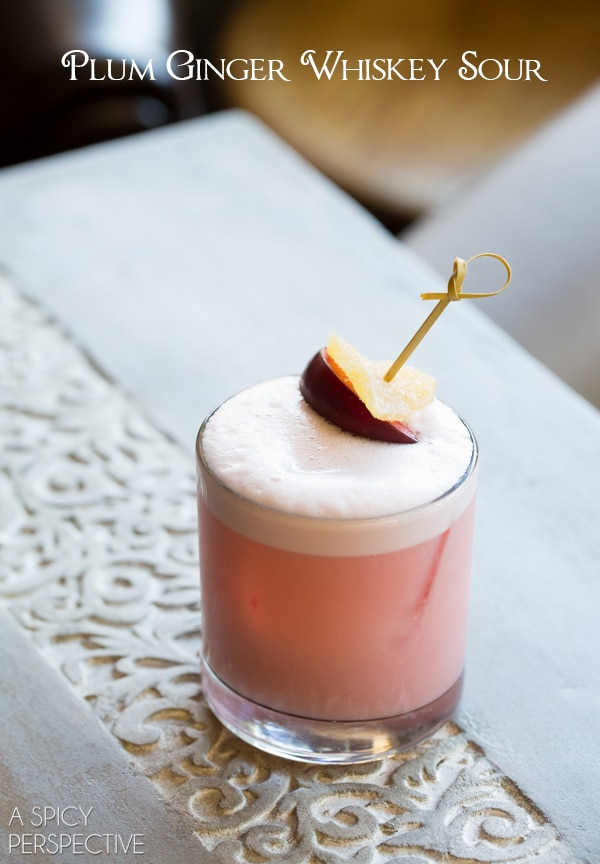 Plum Ginger Whiskey Sour Recipe #fall #cocktails #fall