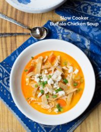 Slow Cooker Buffalo Chicken Soup #soup #buffalochicken #healthy