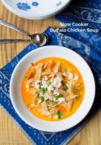 Slow Cooker Buffalo Chicken Soup #soup #buffalochicken #healthy