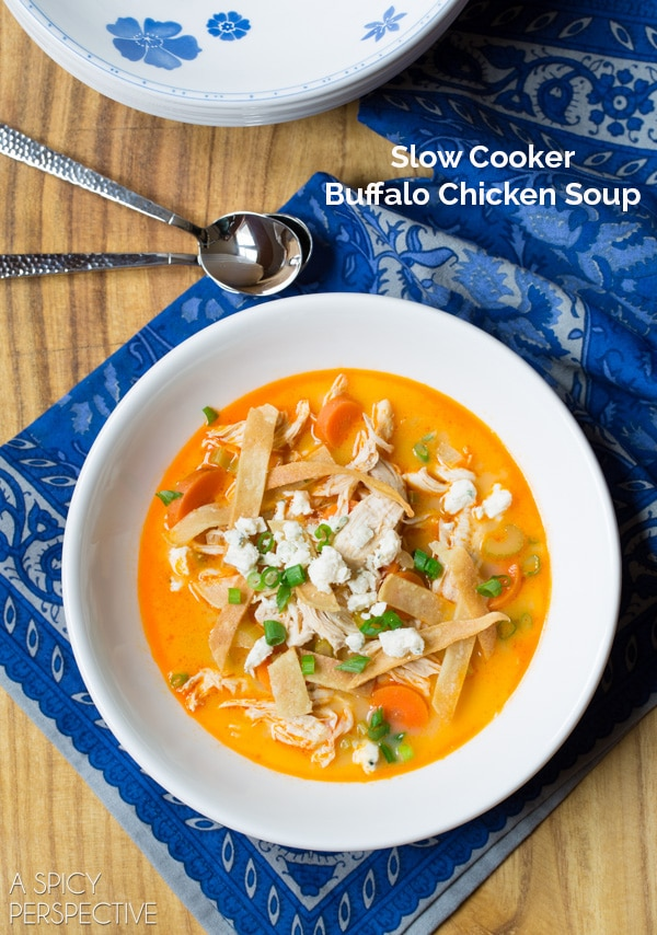 Slow Cooker Buffalo Chicken Soup #ASpicyPerspective #BuffaloChicken #BuffaloChickenSoup #SlowCooker #CrockPot #SlowCookerBuffaloChicken #CrockPotBuffaloChicken #Soup #Dinner #MainCourse #Healthy