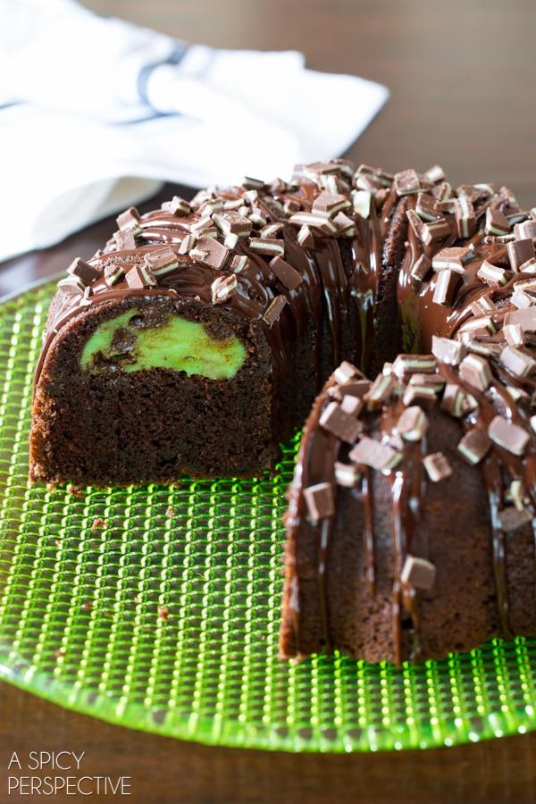 Decadent Chocolate Mint Bundt Cake with Mint Chip Swirl