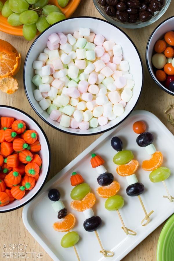 Easy Halloween Fruit Skewers #halloween #kids