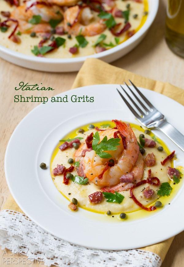 Easy Italian Shrimp and Grits #comfortfood